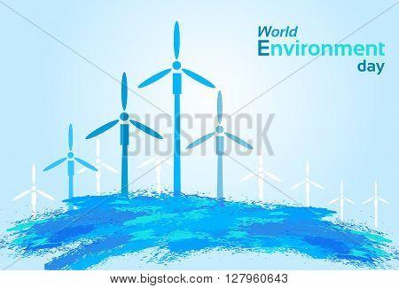 Blue Wind Air Turbine Energy Sky World Environment Day Flat Vector Illustration