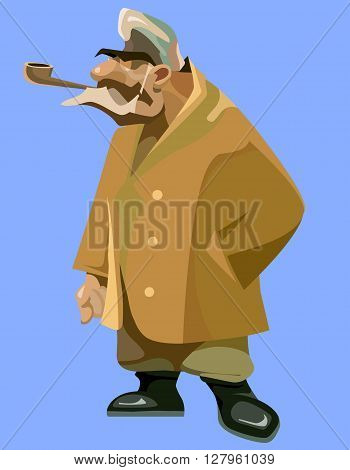 painted pensive grandfather in a sheepskin coat with a pipe in his mouth