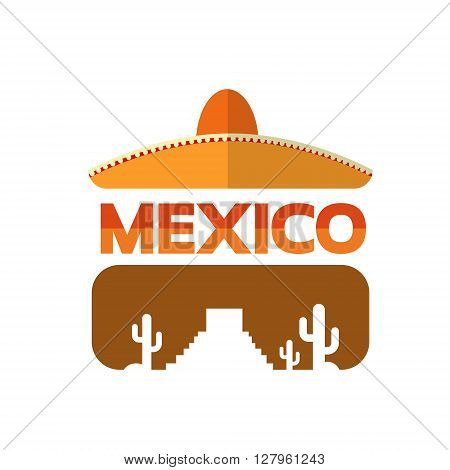 Mexican Traditional Hat Sombrero Mexico Eyeglasses With Cactus Flat Vector Illustration
