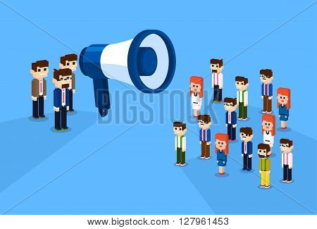 Businessman Megaphone Loudspeaker Colleagues Business People Team Leader Group Businesspeople 3d Isometric Design Vector Illustration