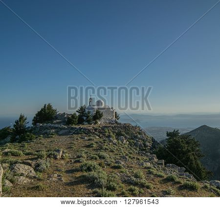 Chapel at the top of Mount Dikeos of Kos Island.