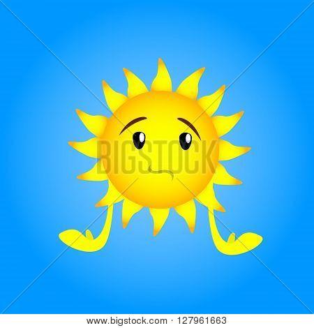 Sun Face Cartoon Character Sad, Upset Depressed Expression Flat Vector Illustration