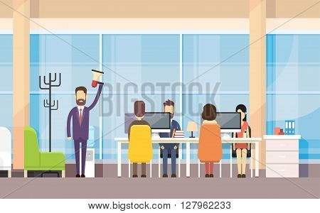 Businessman Boss Hold Megaphone Loudspeaker Colleagues Business People Team Leader Group Businesspeople Working Office Interior Flat Vector Illustration