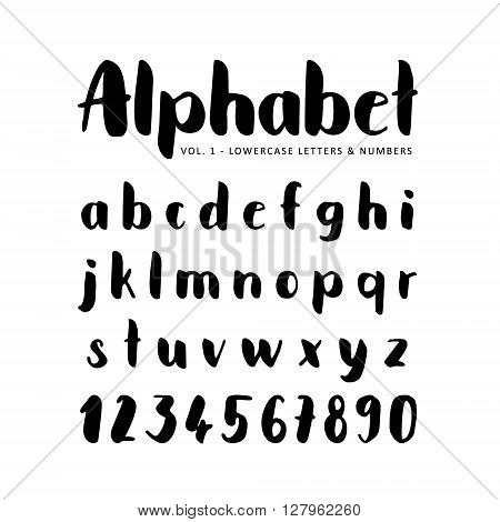 Hand drawn vector alphabet. Sans serif font. Isolated letters written with marker ink. Calligraphy lettering.