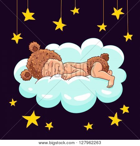 Baby in hat bear sleeping on a cloud. Vector illustration on a dark background. Beautiful star background. Sweet baby sleep. Beautiful kid.