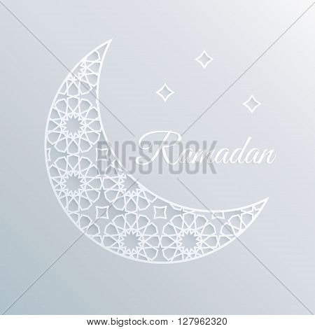 Greeting card invitation for holly moth Ramadan. Decorative ornamental moon and stars. Arabic design pattern. 3D white paper craft style. Vector stock background