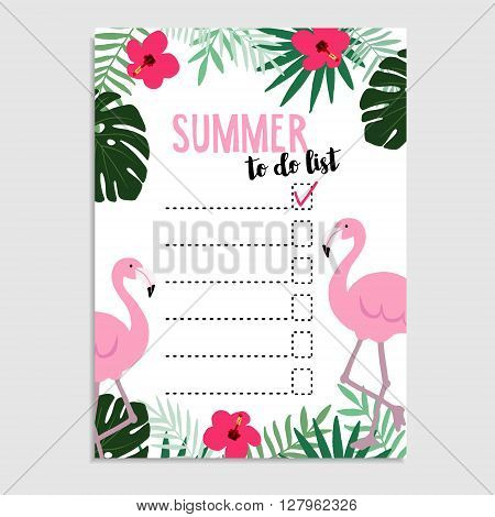 Summer greeting card invitation. Wish list. To do list. Flamingo bird palm leaves hibiscus flowers cheese plant. Web banner background. Stock vector illustration flat design