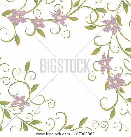 Vector illustration of delicate flowers climbing vines.