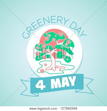 Calendar for each day on may 4. Greeting card. Holiday - greenery day. Icon in the linear style