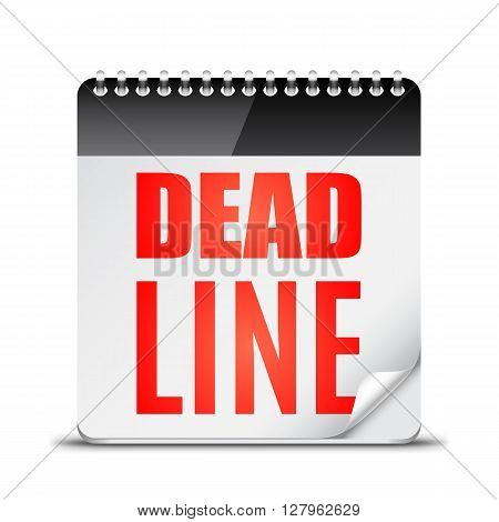 Red deadline word written on paper calendar