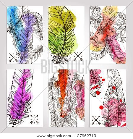 Collection Of Cards With Hand Drawn  Illustrations Of Feathers. Watercolor Trendy Banners With Feathers