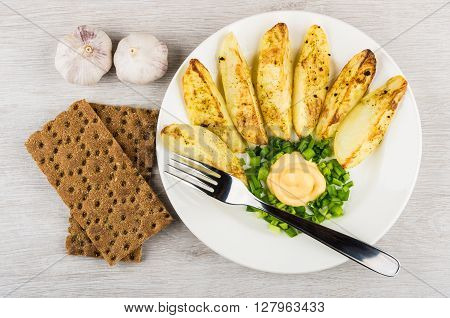Slices Of Baked Potatoes With Mayonnaise And Leek, Crispbread