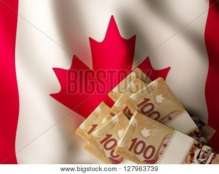 Canadian dollar banknote bundles on textile textured Canada flag. 3d rendering.