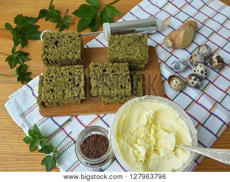 Cooking goutweed ginger cake organic food with wild plants and quail eggs