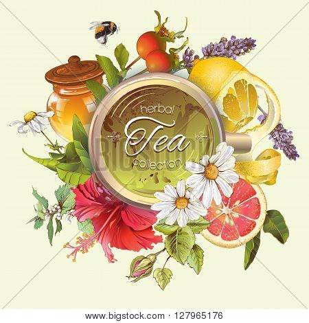 Vector vintage herbal banner with honey, hibiscus, lemon and rose hip.Design for tea, juice, natural cosmetics, baking, candy and sweets, grocery, health care products. With place for text.