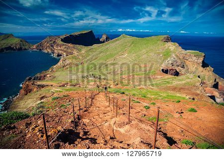 down stairs at the Ponta de Sao Lourenco the eastern part of Madeira Portugal