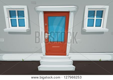 Illustration of a cartoon house front door inside house building with blue windows