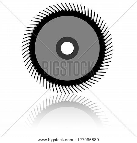 Circular saw blade on a white background. Vector illustration.