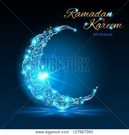Glowing ornate crescent with bright flare and radiance in blue shades. Greeting card of holy Muslim month Ramadan