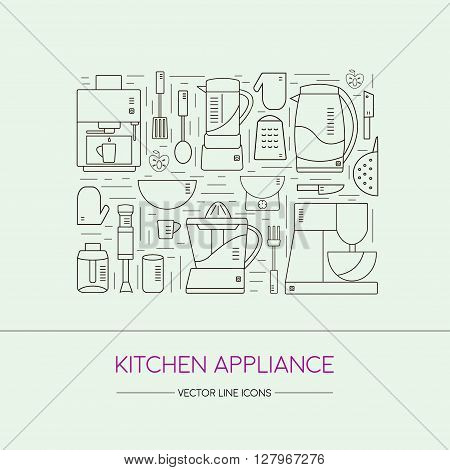 Home appliances in line style set. Various household equipment and facilities