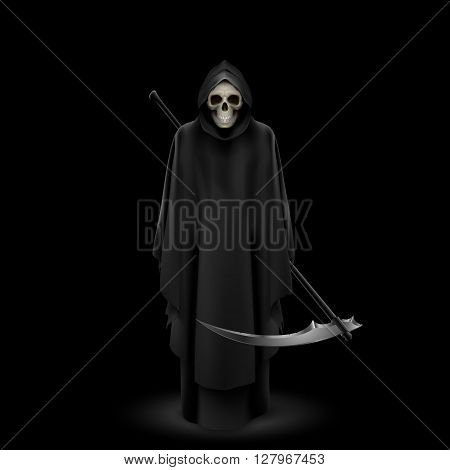 Angel of death with a scythe in his hands on black background.