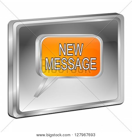 silver new Message Button - 3D illustration