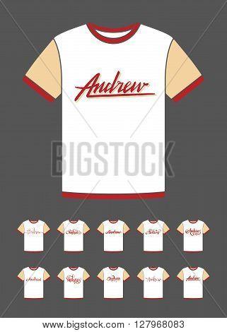 Personal name Andrew. Vector handwritten calligraphy T-Shirt design set