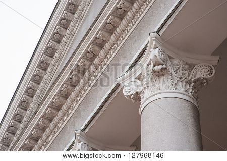 architectural columns on the facade of building.