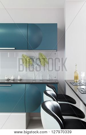 Open Space. Bar counter in a modern interior between the living room and kitchen
