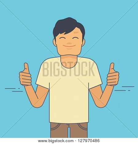 Young guy demonstrates thumbs up. Flat line illustration of satisfied young guy with like gesture showing his approval of something with thumbs up