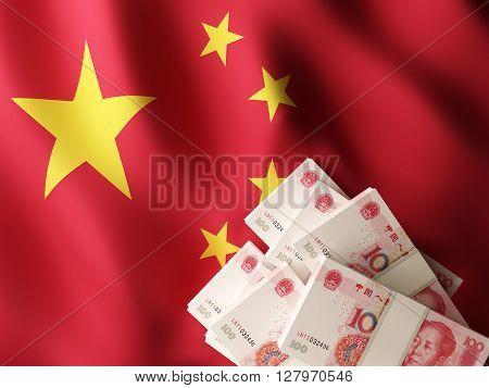 Chinese yuan renminbi banknote bundles on textile textured China flag. 3d rendering.