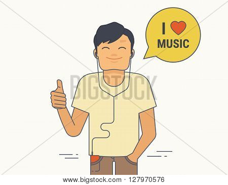 Young guy demonstrates thumbs up he likes listen to music. Flat line illustration of satisfied young guy with like gesture showing his approval of something with thumbs up and speech bubble