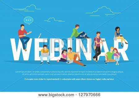 Webinar concept illustration of young various people using laptop, tablet pc and smartphone to watch online webinar with skilled instructor. Flat design of guys and young women staying near big letters webinar