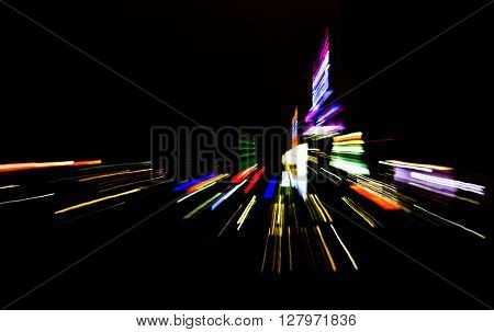 New York City nightime skyline lights abstract background