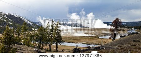 Panoramic view of Yellowstone National Park landscape scene
