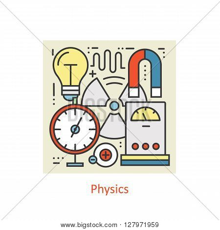 Modern color thin line concept of physics for school, university and training. Art design vectors collection, Flat Style. Logo Concepts  for Trendy Designs.  Vector line background.