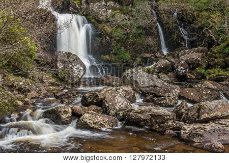 Inversnaid Waterfalls a popular tourist spot on the banks of Loch Lomond, Scotland