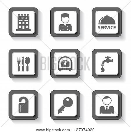 set of gray hotel buttons on white background