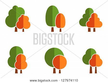 isolated nature icons set with colorful tree