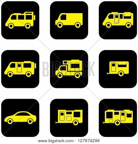 yellow camper transport set on black icons