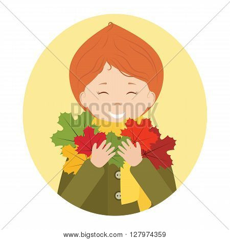 A girl is holding autumn leaves in her hands on a yellow round background.Maple leaves of different colors.Vector illustration