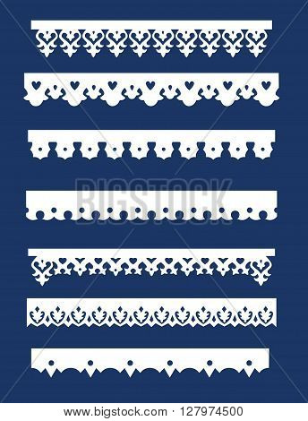 Set of seven border frame design element in a russian style.Vector illustration