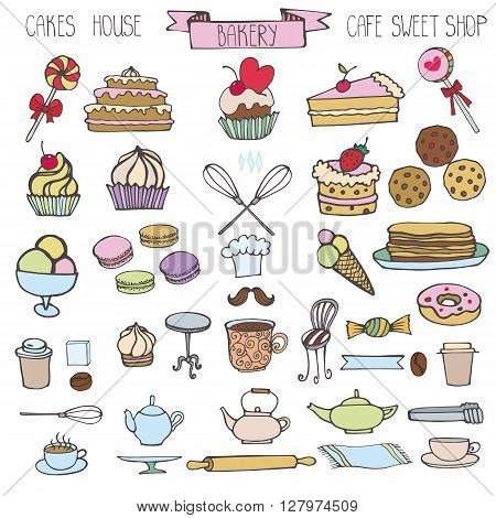 Doodle vector.Bakery, Cakes and dessert, pastries  icons set.Colored vintage elements for label, menu, cafe shop. Flat hand drawn isolated items.Sweet vintage collection