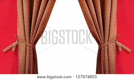 beautiful silk brown curtain with tassels isolated on white