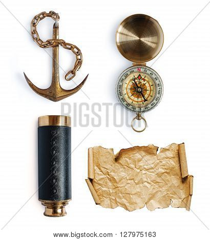 Anchor, Telescope, Compass And Map Or Parchment