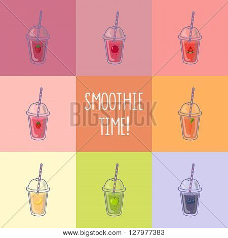 Collection of eight healthy fruit smoothies in flat style. Menu element for cafe or restaurant.