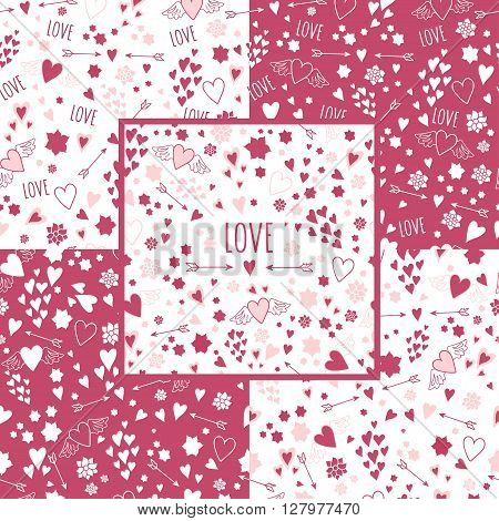 Set of rose and white seamless patterns with hearts and arrows. Seamless heart patterns with love lettering. Hand drawn seamless heart patterns with flowers