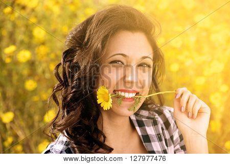 Nice Girl Plays Biting A Daisy As A Joke