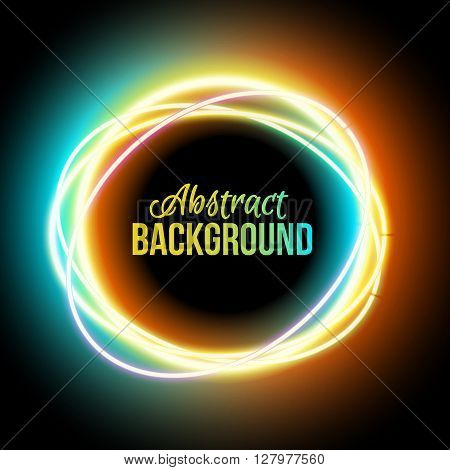 Neon oval. Neon colorful light. electric frame. Vintage frame. Retro neon lamp. Space for text. Glowing neon background. Abstract electric background. Neon sign circle. Glowing electric frame