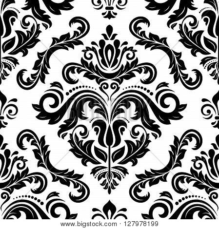 Seamless oriental pattern in the style of baroque. Traditional classic vector pattern. Black and white pattern